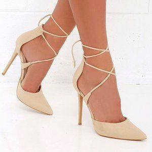 LULUS Michele Nude Suede Lace-Up Heels 8.5